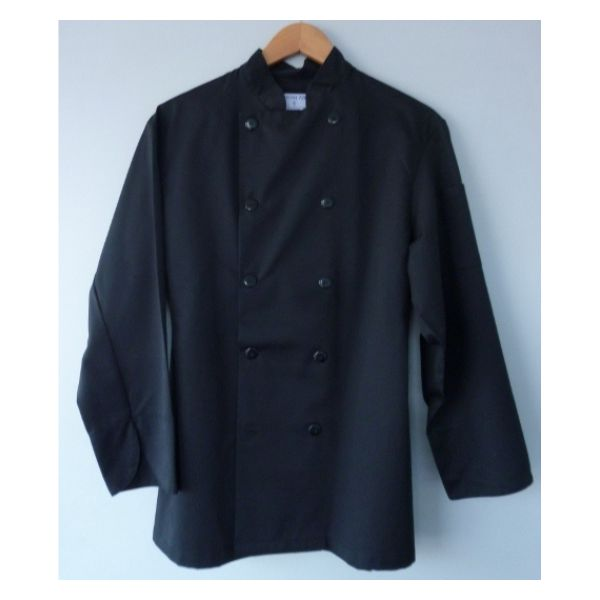 1018 black chef jacket plastic buttons